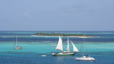 Sailing boat in the Caribbean